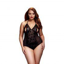 BACI Plus Size - nyakpántos, áttetsző body (fekete)