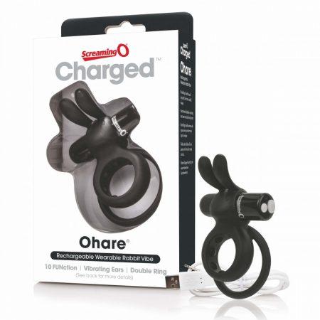 Screaming Charged Ohare - akkus, nyuszis péniszgyűrű (fekete)