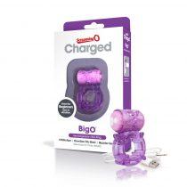 Screaming Charged BigO - akkus, csillagos péniszgyűrű (lila)