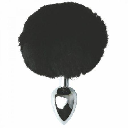 Sportsheets Sincerely - fém anál dildó nyuszifarokkal (ezüst-fekete)