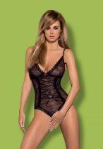 Obsessive Slevika - elöl fűzős, nyitott csipke body (fekete)