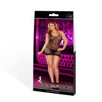 Lapdance Lace Plus Size - nyakpántos necc miniruha (fekete)